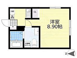 ラフォート菊川 5階1Kの間取り