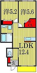 グランヴィラ 1階2LDKの間取り