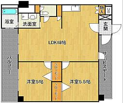 福岡県北九州市八幡西区里中2丁目の賃貸マンションの間取り