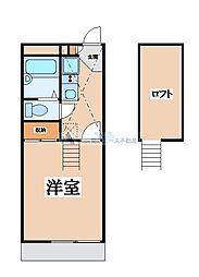 レオパレスMOGAMI 2階1Kの間取り