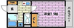 兵庫県芦屋市東山町の賃貸アパートの間取り