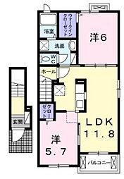 三重県松阪市大黒田町字石川の賃貸アパートの間取り