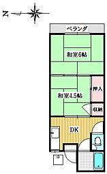 植竹アパート[202号室]の間取り