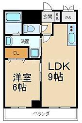 ピアチェーレ 6階1LDKの間取り
