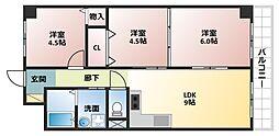 大阪府大阪市平野区喜連6丁目の賃貸マンションの間取り