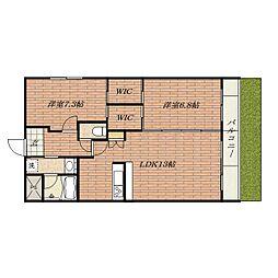 大阪府茨木市彩都やまぶき3丁目の賃貸マンションの間取り