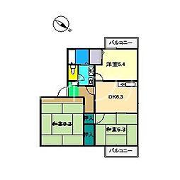 幸ハウス C棟[2階]の間取り