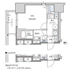 パークアクシス新栄 7階ワンルームの間取り