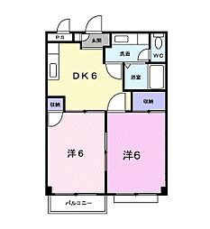 富山県富山市中島1丁目の賃貸アパートの間取り