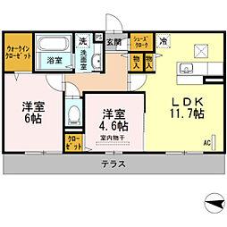 福岡県福岡市中央区今川2丁目の賃貸アパートの間取り