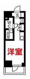 クラリッサ横浜WEST 3階ワンルームの間取り