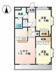 愛知県名古屋市中川区戸田西2丁目の賃貸マンションの間取り