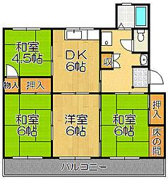 兵庫県宝塚市中山五月台6丁目の賃貸マンションの間取り