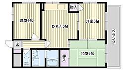 鶴見緑地ハイツ弐番館[8A号室]の間取り