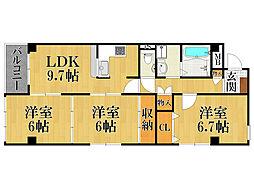 ロイヤルハイツ甲子園口[3階]の間取り