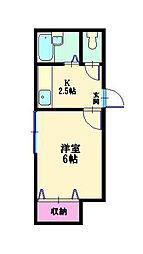 東京都品川区戸越4丁目の賃貸アパートの間取り