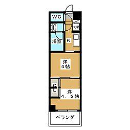 グランド・ガーラ東大島 8階2Kの間取り