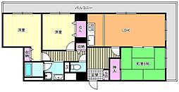 ネオシティ東田辺[5階]の間取り