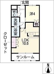 サン・フローラ弐番館[2階]の間取り