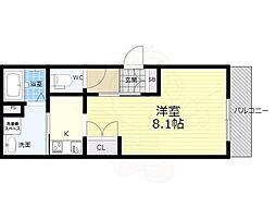 阪急宝塚本線 石橋阪大前駅 徒歩6分の賃貸マンション 1階1Kの間取り