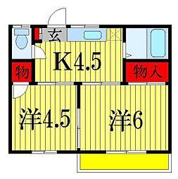 千葉県習志野市花咲2丁目の賃貸アパートの間取り