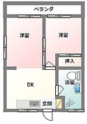 赤嶺アパート 3階2DKの間取り