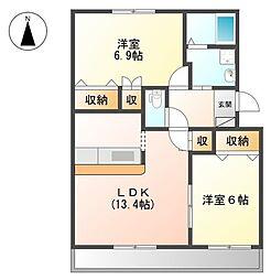 プロニティAOKI[1階]の間取り
