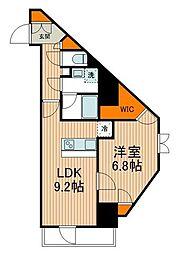 東武伊勢崎線 東向島駅 徒歩2分の賃貸マンション 8階1LDKの間取り
