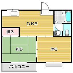 大阪府茨木市沢良宜東町の賃貸アパートの間取り