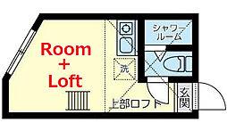 ミラベル横浜 2階ワンルームの間取り
