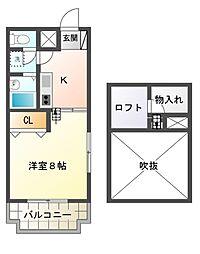 栃木県宇都宮市上戸祭2丁目の賃貸マンションの間取り