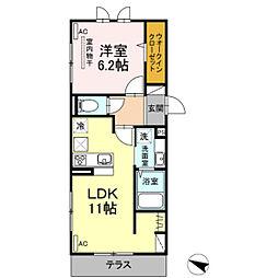 D-room名島 2階1LDKの間取り