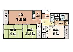 シャトル大津和[6階]の間取り