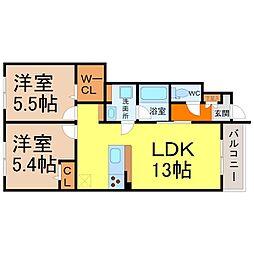 愛知県名古屋市中村区日比津町1丁目の賃貸アパートの間取り