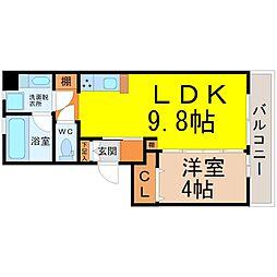 愛知県名古屋市東区筒井2丁目の賃貸アパートの間取り