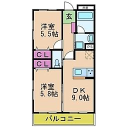 ロータス浜寺A棟[2階]の間取り
