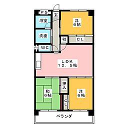 グランド三栄[4階]の間取り