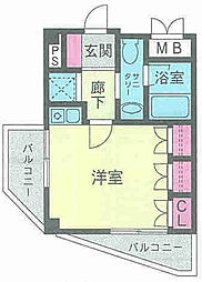兵庫県神戸市中央区楠町3丁目の賃貸マンションの間取り