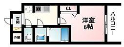 Osaka Metro御堂筋線 西中島南方駅 徒歩3分の賃貸マンション 6階1Kの間取り