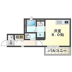 阪急宝塚本線 庄内駅 徒歩7分の賃貸アパート 3階ワンルームの間取り