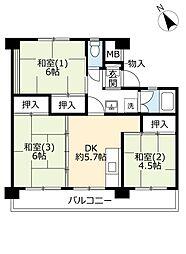UR国立富士見台 4階3DKの間取り
