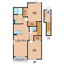 和歌山県伊都郡かつらぎ町大字笠田中の賃貸アパートの間取り