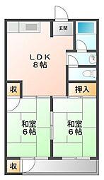 若草ハイツ[4階]の間取り