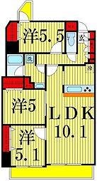 東京都足立区島根2丁目の賃貸マンションの間取り