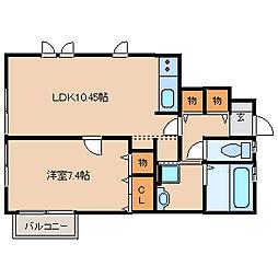 兵庫県尼崎市東園田町2丁目の賃貸アパートの間取り