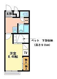 兵庫県姫路市実法寺の賃貸アパートの間取り
