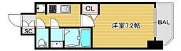 ファステートNAMBA華月 9階1Kの間取り
