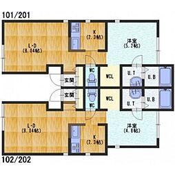石川テラス[2階]の間取り