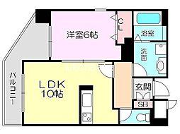 グレースK 4階1LDKの間取り