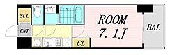 ファステート難波グランプリ 6階1Kの間取り